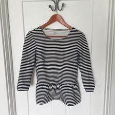 Striped Peplum Top Navy and white peplum top from Ann Taylor Loft. LOFT Tops