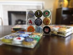Set of FOUR - One of a Kind Beer Bottle Cap Resin Coasters - Perfect Gift for Guys - pinned by pin4etsy.com