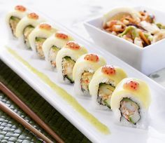 Mango Lobster Roll (RA Sushi) - Lobster mix, avocado & cucumber rolled & topped with thinly sliced mango; served with mango tobiko & kiwi wasabi sauces