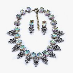 Luxury Crew Brand AB Crystal Leaves Choker Necklaces Pendants Fashion Big Chunky Opal Statement Necklace Women Jewelry 2015