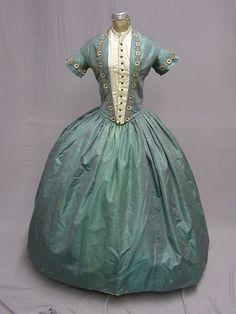 1840's Iridescent Silk Blue Green Ball Gown