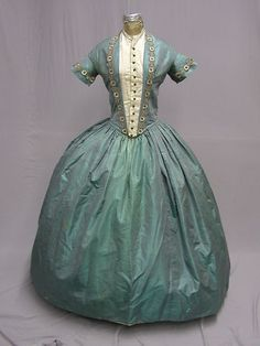 1840's Iridescent Silk Blue Green