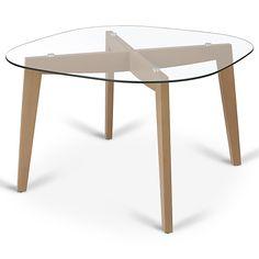 table de repas ronde verre et bois scandinave (d.110xh.75cm