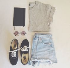 Black vans,high waisted shorts,grey top,vintage sun glasses.