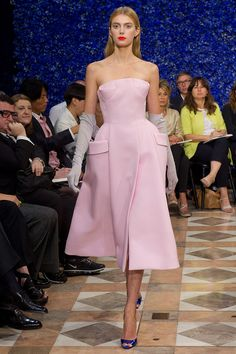 I like this idea - pastel pink dress with royal blue heels!  Christian Dior revolution, Haute Couture fall winter 2012-2013, Raf Simons.