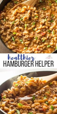 Homemade Hamburger Helper Recipe VIDEO This easy Homemade Hamburger Helper recipe is made completely in one pot and better than the original! A cheesy macaroni and beef pasta made healthier. Ready in 30 MINUTES or less! Includes step by step recipe video. Healthy Ground Beef, Ground Beef Recipes For Dinner, Dinner With Ground Beef, Dinner Recipes, Dinner Ideas With Beef, Ground Pork Recipes Easy, Ground Hamburger Recipes, Hamburger Dinner Ideas, Ground Beef Pasta