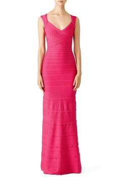 Rent Pink Estrella Signature Essentials Gown by Hervé Léger for $260 only at Rent the Runway.