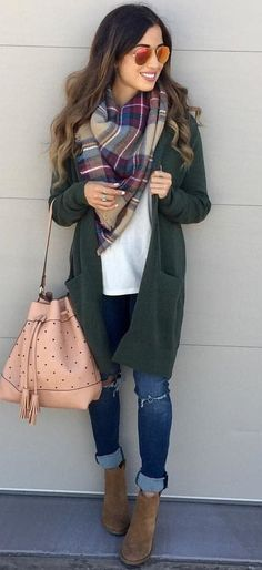 #winter #outfits purple, gray and blue plaid scarf