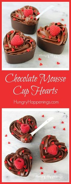 Nothing makes a Valentine's Day dinner sweeter than a decadent dessert like these Chocolate Mousse Cup Hearts. Each dark chocolate heart cup is filled with the very best chocolate mousse and is topped with a vibrantly fresh raspberry and some red heart sprinkles.