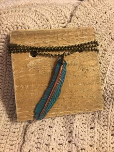 Boho Chic vintage inspired Feather necklace. Available in the Krusen Creations Etsy shop. $15 with free shipping.
