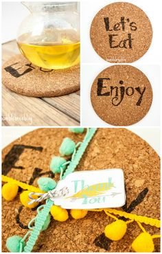 Want a new fun thank you gift for a host or hostess? Make these cork trivets using a wood burning tool. Easy and fun and comes with a FREE printable Thank You Tag.