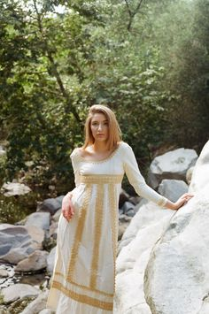 APHRODITE 1960s Vintage Cream Macrame Maxi Dress