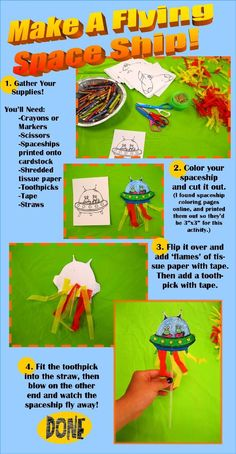Make A Flying Space Ship Library Program for Kids from Rachel Moani Science Crafts, Science Activities For Kids, Preschool Activities, Science Fun, Kid Crafts, Planet Crafts, Reading Buddies, Library Activities, Kids Daycare