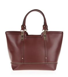 Burgundy Leather-Look Zip Trim Tote Bag