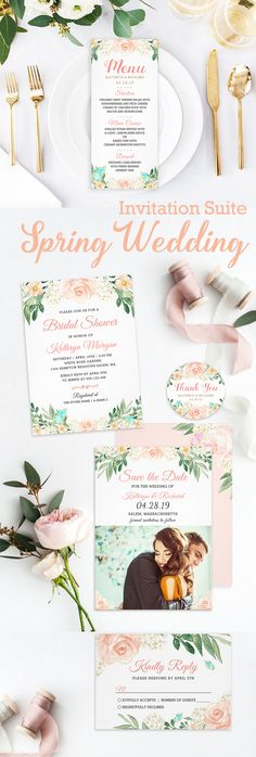 Spring Blush Peach Floral Wedding Invitation Suite Spring Wedding Invitations, Wedding Invitation Design, Custom Invitations, Wedding Suits, Wedding Themes, Bridal Shower, Blush, Presents, Peach