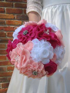 Pink and White Felt Flower Alternative Wedding Bouquet