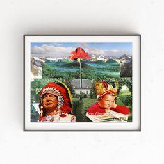 Indians Print, Collage, Art Print, Instant download, Printable, Art download, 3 JPG