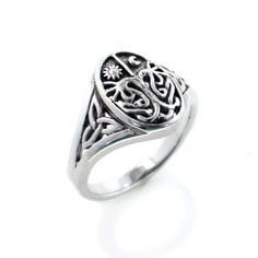 Celtic Trinity Knot Tree of Life with Sun and Moon Sterling Silver Ring(Sizes 3,4,5,6,7,8,9,10,11)
