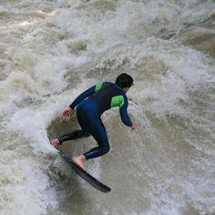 Shredding on the river. #riversurfing #Riverbreak riverbreak.com