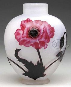 glass, France, A Daum Nancy French Cameo [glass] vase, three dimensional poppy flowers are depicted in various stages of bloom in a gorgeous rose hue with purple stamens, buds and foliage. This design is set on an iridescent frosted ground. Signed circa 1880-1920