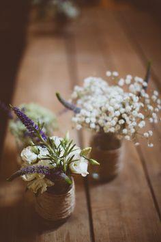 Rustic Cotswolds Barn Wedding Jar Twine Flowers http://jenmarino.com/