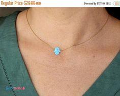 ON SALE Opal Hamsa necklace / Blue opal Necklace / Hamsa Hand