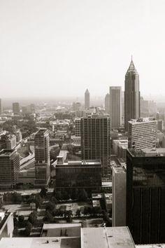 Atlanta skyline in black and white