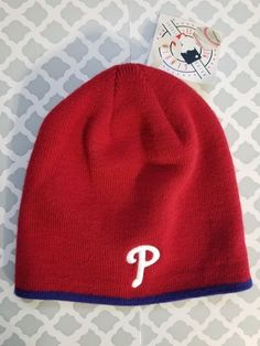42ccc3053c8 Philadelphia Phillies NWT Winter Beanie Knit Cap Red  PhiladelphiaPhillies