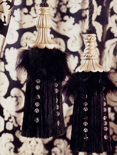 Tassels with carved wood, feathers & crystals