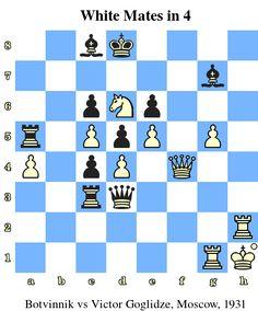 White Mates in 4. Botvinnik vs Victor Goglidze, Moscow, 1931 www.chess-and-strategy.com #echecs #chess #jeu #strategie