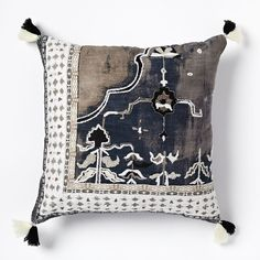 Border Fragment Pillow Cover - Black