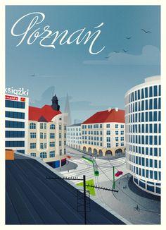 """Poznań - 27 Grudnia Street with """"Okrąglak"""" building"""
