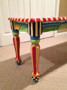 Hand Painted Farmhouse Bench. Whimsical. Alice in wonderland. Checks custom