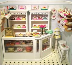 The use of shelving behind the counter would be a great place to put extra stock and also a chance for costumers to see stock which they may have missed while looking through the shop. Miniature Rooms, Miniature Kitchen, Miniature Furniture, Dollhouse Furniture, Diy Arts And Crafts, Fun Crafts, Play Houses, Doll Houses, 3d Quilling