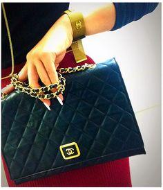 Vintage Chanel black chain shoulder bag~ hedyjp.com