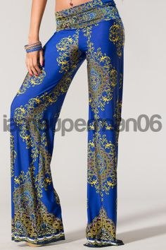 Plus size clothes - This comfortable pair of palazzo pants features a paisley print.