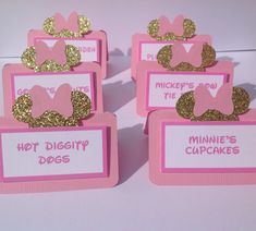Food labels are a great way to guide your guests through what is being served at your celebration. These Minnie Mouse inspired food labels in pink, gold and white are perfect for a food buffet or candy buffet! Each label is made from card stock and a cute Minnie Mouse die cut making these labels simple, with an elegant touch. This listing includes 12 labels. You can choose to have them arrive blank (if you are not quite sure what you will be serving), or printed if you know exactly what…