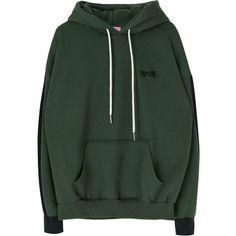 PORTLAND Contrast Sleeve Panel Hoodie (140 CNY) ❤ liked on Polyvore featuring tops, hoodies, drawstring hoodie, bunny top, embroidered top, embroidered hooded sweatshirts and sweatshirt hoodies