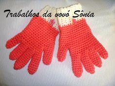 Trabalhos da vovó Sônia: Luvas infantis pink - crochê