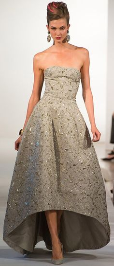 Oscar de la Renta SS 2013. rather like the angled front he's doing SS--the better to show off shoes.