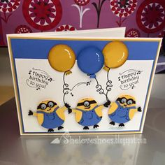 One of my Work girlfriends loves minions and it's her birthday today so I made her this birthday card. So glad she loved it!! Stampin Up. Owl builder Punch.