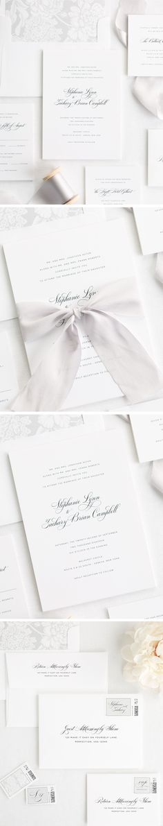 Elegant Ribbon Wedding Invitations in Silver Gray. Our Delicate Elegance wedding invitations are printed on white matte card stock with a silver floral envelope liner and custom dyed 100% silk ribbon in platinum gray. Complete the look with our guest addressing services and custom designed stamps. Create a wedding invitation that will stand the test of time starting from start to finish. We offer matching accessories such as menus, table numbers, and thank you cards to complete your look.