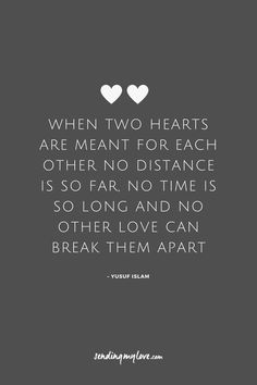 "Find quotes, relationship advice and gifts: www.sending-my-love.com ""When two hearts are meant for each other no distance is so far, no time is so long and no other love can break them apart"" - Long distance Relationship quotes -#LDRquotes"