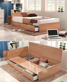 Ideas bedroom bed storage desks for 2019 Kids Bedroom Furniture, Home Furniture, Furniture Design, Bedroom Decor, Furniture Stores, Modern Furniture, Bed Frame With Storage, Bed Storage, Storage Hacks