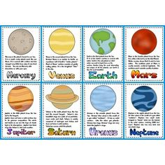 Solar system trading cards template