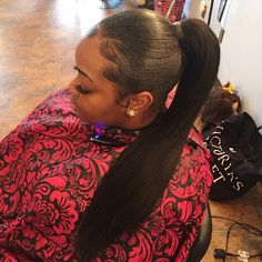 beautiful hairstyle ponytail and controlled edges~ Weave Ponytail Hairstyles, Ponytail Styles, Prom Hairstyles, Black Hairstyles, Woman Hairstyles, Beautiful Hairstyles, Slick Ponytail, Straight Ponytail, Natural Hair Styles
