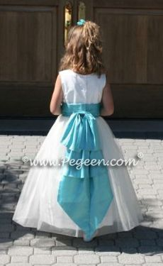 Colour teal bow weddings flower girl dresses but with our color green for the bow mightylinksfo