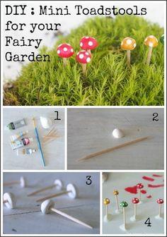 Miniature Garden Pinterest | DIY Mini Garden Toadstools