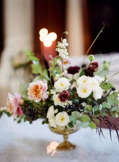 Searching for the perfect autumnal centerpiece? You've found it in this Emblem Flowers compote arrangement, featuring black cherries, chocolate cosmos, and snowberries. Peonies Centerpiece, Floral Centerpieces, Wedding Centerpieces, Wedding Decorations, Aisle Decorations, Centrepieces, Wedding Flower Arrangements, Floral Arrangements, Table Arrangements