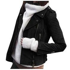 Soft Faux Suede Slim Moto Biker Coat Zip up Jacket ZhuikunA Womens Short
